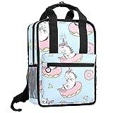 Baby-Einhörner, Leinen, Schulrucksack, Reisetasche, Tagesrucksack für Herren und Damen und Laptop, 33 cm (13 Zoll), mit breiter Öffnung oben