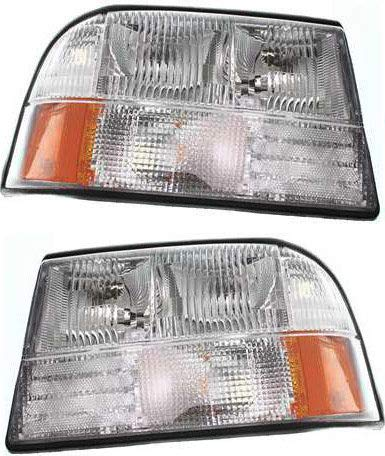 Headlight Set Compatible with 1998-2004 GMC Sonoma 1998-2001 Oldsmobile Bravada Left Driver and Right Passenger Side Halogen With bulb(s)