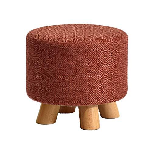 LULUDP Fußhocker Polsterhocker Schuhhocker ändern Fußhocker Gepolsterter Fußhocker Small Ottoman Round Wood Schuhhocker ändern Abnehmbarer Leinenbezug Einfarbig (29 cm x 25 cm) (Color : Red)