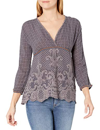 Johnny Was Damen Tonal Embroidered Long Sleeve Tunic Tunika-Oberteil, Graphit, Mittel