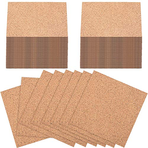 100 Pieces Self-Adhesive DIY Coaster Cork Backing Sheets, Mini Wall Cork Tiles for Coasters and DIY Sticky Crafts, 4 x 4 Inch (Square)