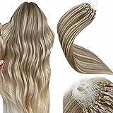 Micro Ring Loop Human Hair Remy LaaVoo Micro Ring Pelo Extensions 16 Pulgadas #Marrón Ligero Highlighted Rubio Dorado Micro Loop Real Hair Extensions 50g/50s Micro Beads Real Humano Pelo