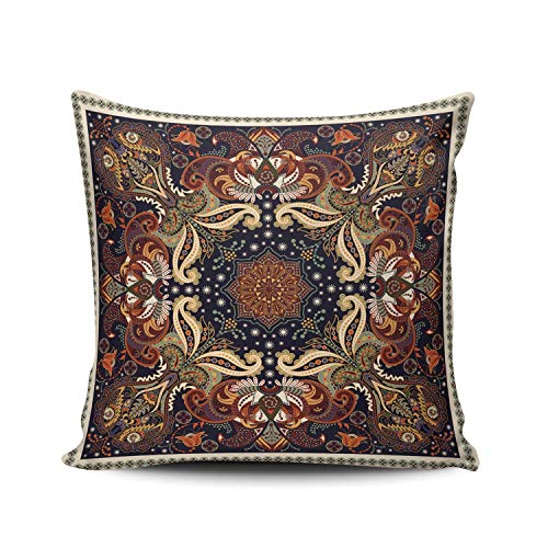 N / A Cushion Case Retro Paisley Flowers Ch Throw Pillow Cover Pillow Cover Cushion Case Two Sides Printed Square Christmas Home Pillowcase 45X45Cm Decorative Sofa Hidden Zipper