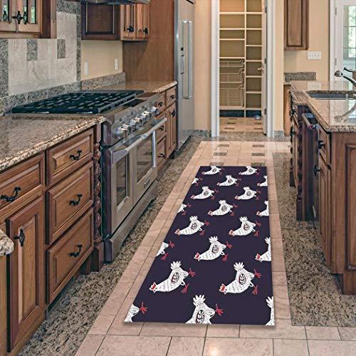 Cartoon haan vloermat keuken tapijt antislip keuken tapijt tapijt voor woonkamer kreukbestendig keuken mat thuis A9 50x160cm