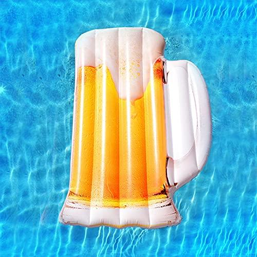 Nwanfeng Forma de Cerveza Inflable Gigante, Balsas flotantes de Piscina al Aire Libre, Juguete Inflable de salón Flotante de Fiesta de Verano para niños y Adultos