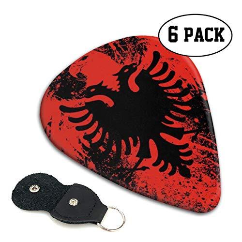Albanische Flagge von Eagle Bird Celluloid Guitar Pick 6er Pack - Musikgeschenke für Bass, elektrische Akustikgitarren