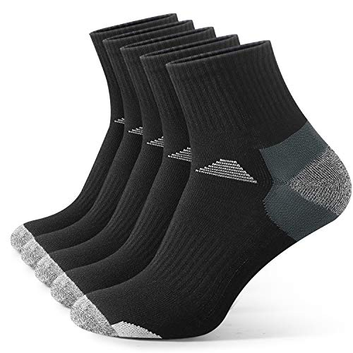 Men's Athletic Socks, 5 Pairs Cotton Quarter Socks Mens Sports Socks Four Season Socks for Outdoor Running Walking Hiking Gifts for Mens Dad Papa