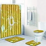 Vlejoy Cortina De Ducha Estampada Amarilla Set Alfombra Antideslizante Cubierta De Inodoro Decoración Resistente Al Agua Duradera 4 Piezas
