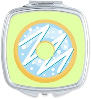 DIYthinker Blue Doughnut Dessert Sweet Food Square Compact Makeup Mirror Portable Cute Hand Pocket Mirrors Multicolor
