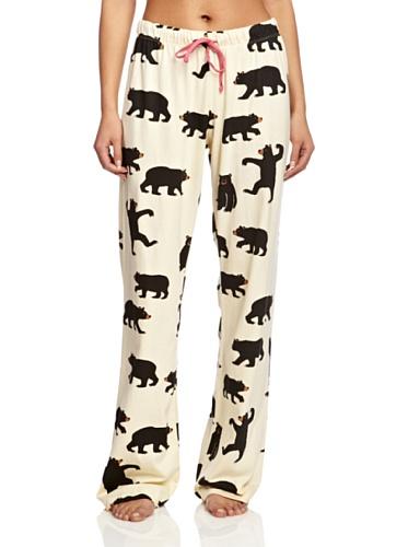 Hatley Damen Black Bears On Natural Schlafanzughose, Mehrfarbig (Cream), X-Large