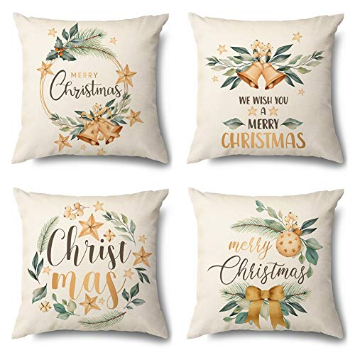 JOTOM Weihnachten Kissenbezug Dekokissen Kissenhülle Sofa Kissen Bezug für Wohnzimmer Büro Outdoor Cafe 45x45cm 4er Set (Weihnachten)