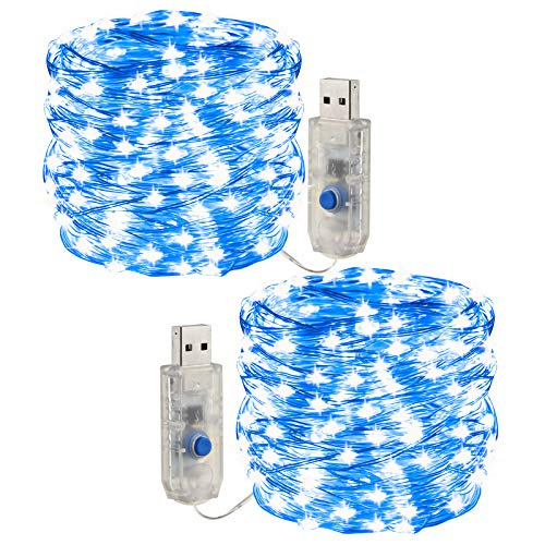 [2 pezzi] Fata leggera stringa, luce a corda a LED 10m /100 led 8 modalità Spina USB in luci a corda in rame alimentate impermeabili per esterni/interni, feste, matrimoni, Natale (blu)