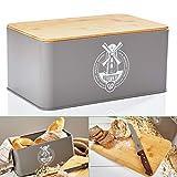 bambuswald© Brotbox aus Metall mit ökologischem Deckel aus Bambus - ca 33x21x16cm | Brotkasten für Croissants, Brot o. Brötchen | Brotbehälter mit Küchenbrett | Aufbewahrung Vorratdose Brotdose