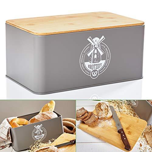 bambuswald© Brotbox aus Metall mit ökologischem Deckel aus Bambus - ca 33x21x16cm   Brotkasten für Croissants, Brot o. Brötchen   Brotbehälter mit Küchenbrett   Aufbewahrung Vorratdose Brotdose