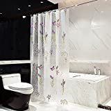 Kong EU 3D Blume Duschvorhänge 100prozent Eva Wasserdicht Badezimmer Vorhang 180* 180cm geruchlos Umweltfre&lich mit Haken