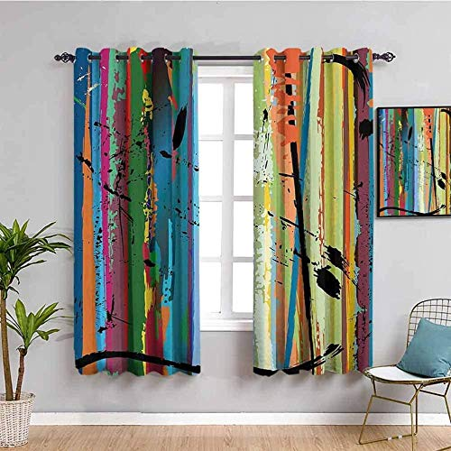 ZLYYH Bedroom Curtains Color Fashion Graffiti Pattern W52 xL84 Blackout Curtains for Bedroom - Light Blocking Thermal Insulated Printed Grommet Panels/Drapes for Living/Dining, Noise Reducing Energy