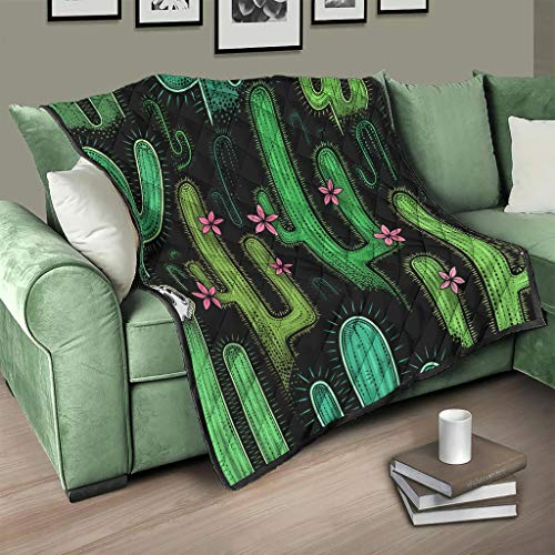 AXGM Colcha con diseño de plantas verdes y cactus, manta 3D, digital, para salón, color blanco, 200 x 230 cm
