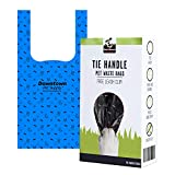 Dog Cat Tie Handle Pet Waste Bags, Doggie Bags for All Size Dogs - Includes Bag Holder (Blue, 100 Bags) - 6.5' x 14.5'