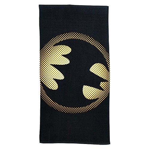 Toalla de playa con logotipo de Batman, color negro