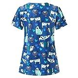 moonmisuni Nueva Camiseta de enfermería de Manga Corta con Cuello en V Camiseta de enfermería con Estampado de Dibujos Animados 018