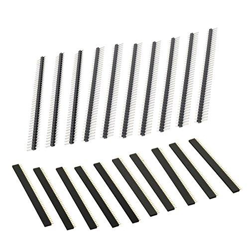 UEETEK 20 piezas placa PCB separada 40 pines 2,54 mm conector macho y hembra para Arduino Shield