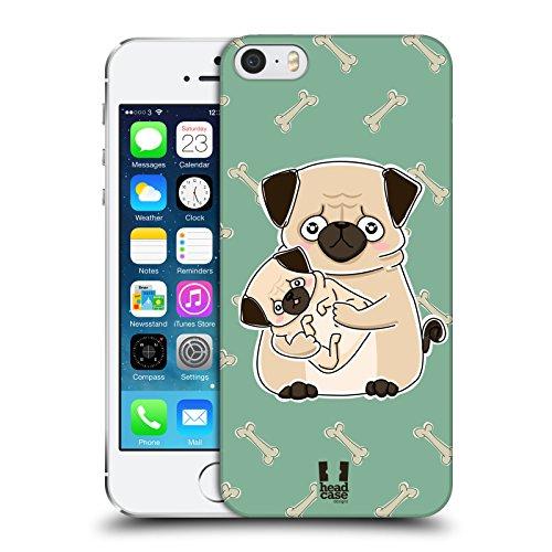Head Case Designs Carlino Animali E Cuccioli Cover Dura per Parte Posteriore e Sfondo di Design Abbinato Compatibile con Apple iPhone 5 / iPhone 5s / iPhone SE 2016