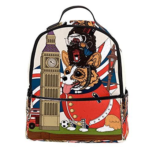 LIPIN Mochila de cuero de la PU de la escuela de la universidad Bookbag Reino Unido Big Ben Dog