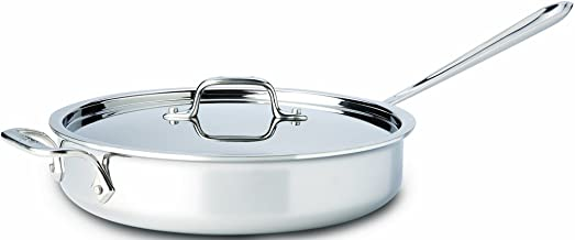 All-Clad 4403 Stainless Steel Tri-Ply Bonded Dishwasher Safe 3-Quart Saute Pan with Lid, Silver