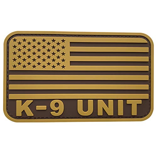 uuKen PVC Rubber US Flag K9 Service Dog Patch 3x5 inch Coyote Brown Tan Military Combat Flag Patch for Tactical Vest Bags (Tan, L5'x3')