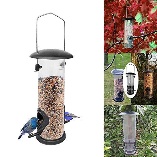 HaavPoois vogelhuisje van metaal transparant kunststof cilindrisch wind- en regenbestendig voederapparaat voor wilde dieren