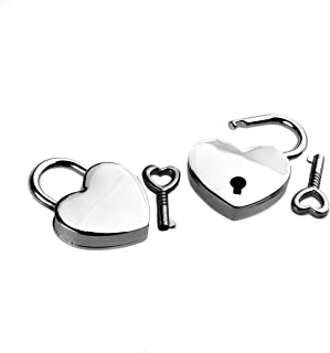 YEHAM Double Mini Heart Shaped Padlock and Key for Lover (Pack of 2, silver)