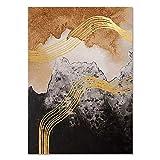 JXMK Moda Abstracta Lienzo de Oro Negro Cartel de Arte de Pared Acuarela Flujo de Tinta Pintura nórdica decoración de la Sala de Estar Moderna 30x40 cm sin Marco
