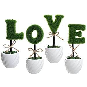 MyGift Love Artificial Sculpted Topiary Set, Decorative Faux Hedge Letters with White Ceramic Pots
