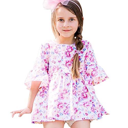 Julhold Peuter Kinderen Baby Meisjes Zomer Mooie Koele Vrije tijd Bloemen Gedrukt Bell Mouw Katoenen Jurk Outfits 0-3 Jaar 2019