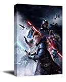 Star Wars Artwork Painting 12' x 18' Framed Wall Art Jedi Fallen Order Cal Kestis Canve Art for Bathroom, Stretched and Ready to Hang