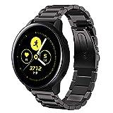 SUNDAREE Kompatibel mit Galaxy Watch Active Armband,20MM Schwarz Metallarmband Armband Edelstahl Uhrenarmband Ersatz für Samsung Galaxy Watch Active2/Galaxy Watch 42/Gear S2 Classic(Active Schwarz)
