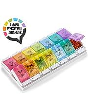 Organizador para siete días con compartimientos AM PM - con botón pulsador asistido y compartimentos grandes para medicamentos vitaminas y suplementos, libre de BPA