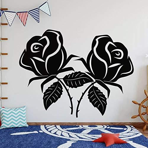 WERWN Dos Rosas Silueta diseño Mural Plantas y árboles en la Pared para decoración de Sala de Estar y Dormitorio