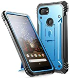 Poetic Google Pixel 3a Rugged Case with Kickstand, Full-Body Dual-Layer Shockproof Protective Cover, Built-in-Screen Protector, Revolution Series, Defender Case for Google Pixel 3a, Blue
