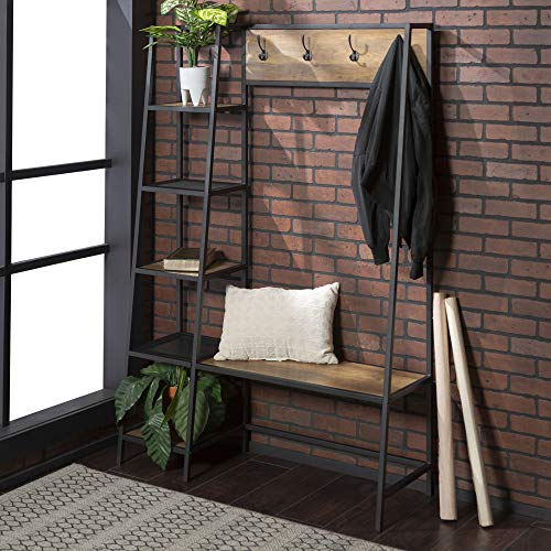 Walker Edison Furniture Walker Edison Furniture 5 Shelf Entryway Bench Hall Tree Storage Coat Rack, 72 Inch, Brown Reclaimed Barnwood