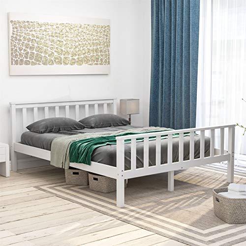 Vida Designs Milan King Size Bed, 5ft, Bed Frame, Solid Pine Wood, Headboard, High Foot End Bedroom Furniture, White