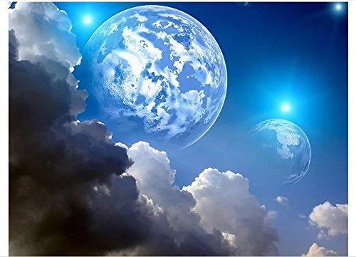 Mznm Foto 3D Tapete Deckenleuchte Wandmalereien HD Fantasy Earth Night Sky Deckenleuchte Wandbild Wand Papier Wohnzimmer Home Gemälde Decor 350x250cm