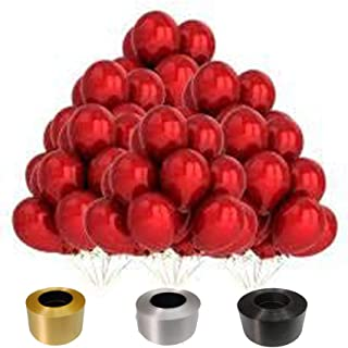 Primart.Retail Red Metallic Balloon with Gold Silver Black Ribbon (Pack of 35 Free Ribbon)