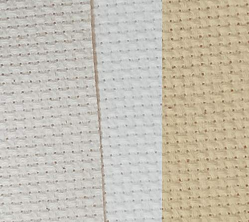 "12"" x 18"" by 3 Pack 14CT Counted Cotton Aida Cloth Cross Stitch Fabric (Natural Antique White+Ecru+Light Straw)"