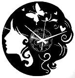 Instant Karma Clocks Orologio in Vinile da Parete Idea Regalo Farfalla Donna Negozio Parrucchiera, Estetista Vintage, Centro Bellezza Handmade