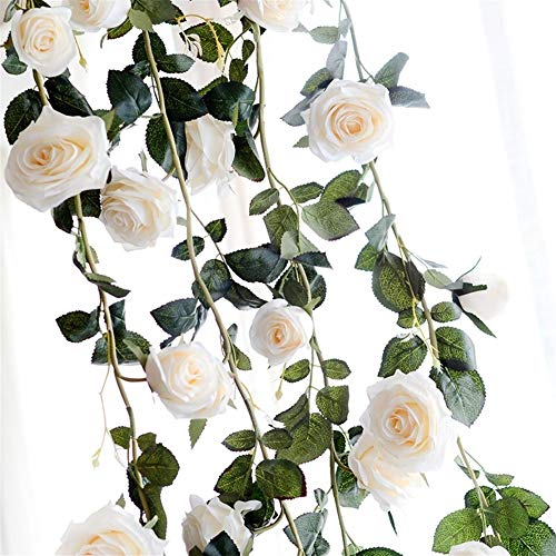 Artificial Plant with Leaves Festival Supplies Home Decor 180cm Artificial Flowers Rose Ivy Vine Wedding Decor Touch Silk Flower Garland String Artificial Flower (Color : White)