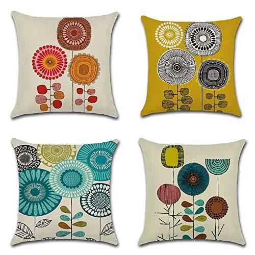 Wajade - Federa per cuscino in cotone e lino, motivo girasole, 40,5 x 40,5 cm, 4 pezzi, per soggiorno, divano, camera da letto, con cerniera invisibile