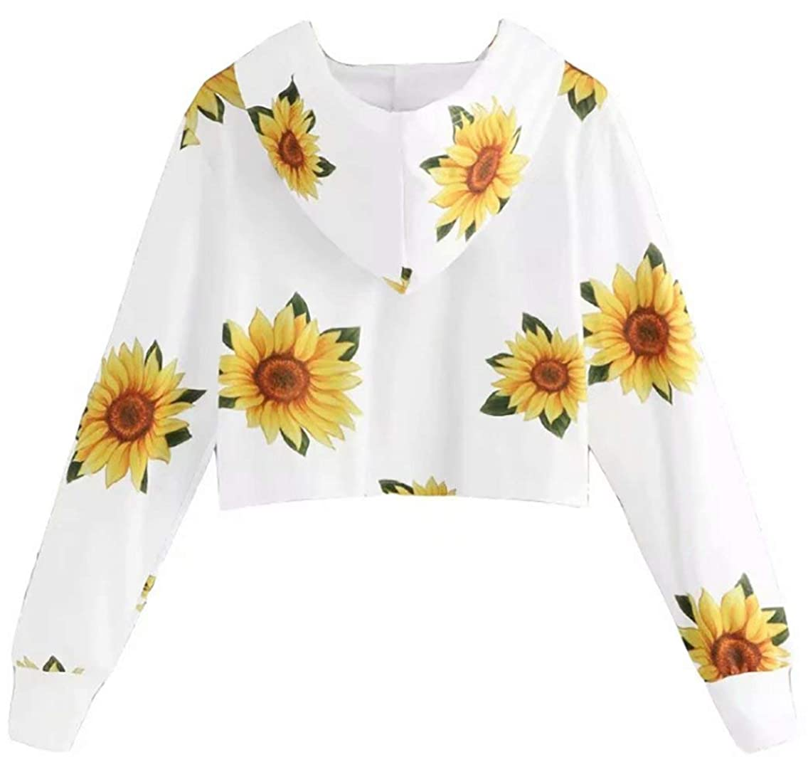 MAXIMGR Womens Crop Top Hoodie Sunflower Print Sweatshirt Pullover Long Sleeve Casual Hoodie
