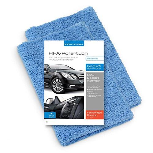 POLYCLEAN 2X Auto Mikrofasertuch – saugstarkes Poliertuch für eine lackschonende Autopflege – randloses und sanftes Trockentuch (40 x 40 cm, Blau, 2 Stück)