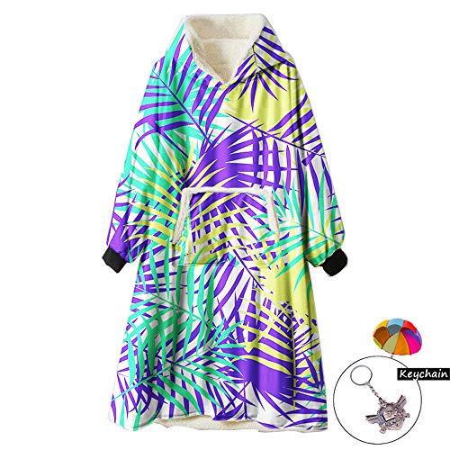 Zuichu Wearable sweatshirt met capuchon, kleurrijk, super zacht en warm, eenheidsmaat voor alle mannen vrouwen meisjes kleine vrienden (één maat, met sleutelhanger)